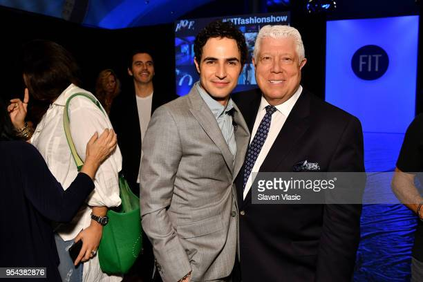 Fashion designer Zac Posen and Dennis Basso pose during the 2018 Future Of Fashion Runway Show at The Fashion Institute of Technology on May 3 2018...