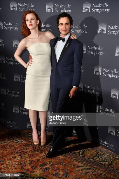 Fashion Designer Zac Posen and Karen Elson arrive at Schermerhorn Symphony Center on April 18 2017 in Nashville Tennessee