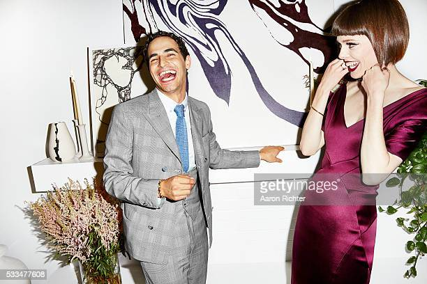 Fashion designer Zac Posen and model Coco Rocha are photographed for Glamour Magazine in 2014 in New York City