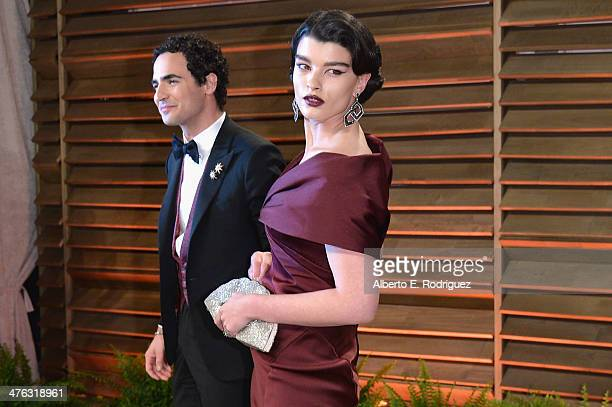 Fashion designer Zac Posen and Model Crystal Renn attends the 2014 Vanity Fair Oscar Party hosted by Graydon Carter on March 2 2014 in West Hollywood...