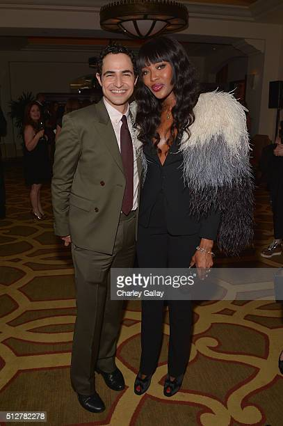 Fashion designer Zac Posen and model Naomi Campbell attend The Weinstein Company's PreOscar Dinner presented in partnership with FIJI Water Chopard...