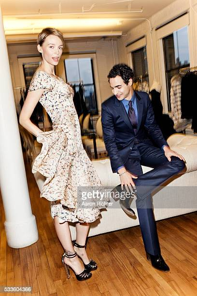 Fashion designer Zac Posen and model/fashion designer Betina Holte are photographed for Glamour Magazine on December 17 2012 in New York City