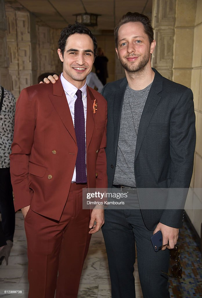 Fashion designer Zac Posen and writer Derek Blasberg attend the M.A.C Cosmetics Zac Posen luncheon at the Ennis House hosted by Karen Buglisi Weiler, Demi Moore & Jacqui Getty on February 25, 2016 in Los Angeles, California.