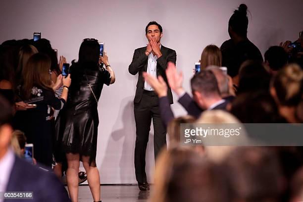 Fashion designer Zac Posen on the runway at the Zac Posen fashion show during New York Fashion Week September 2016 at Spring Studios on September 12...