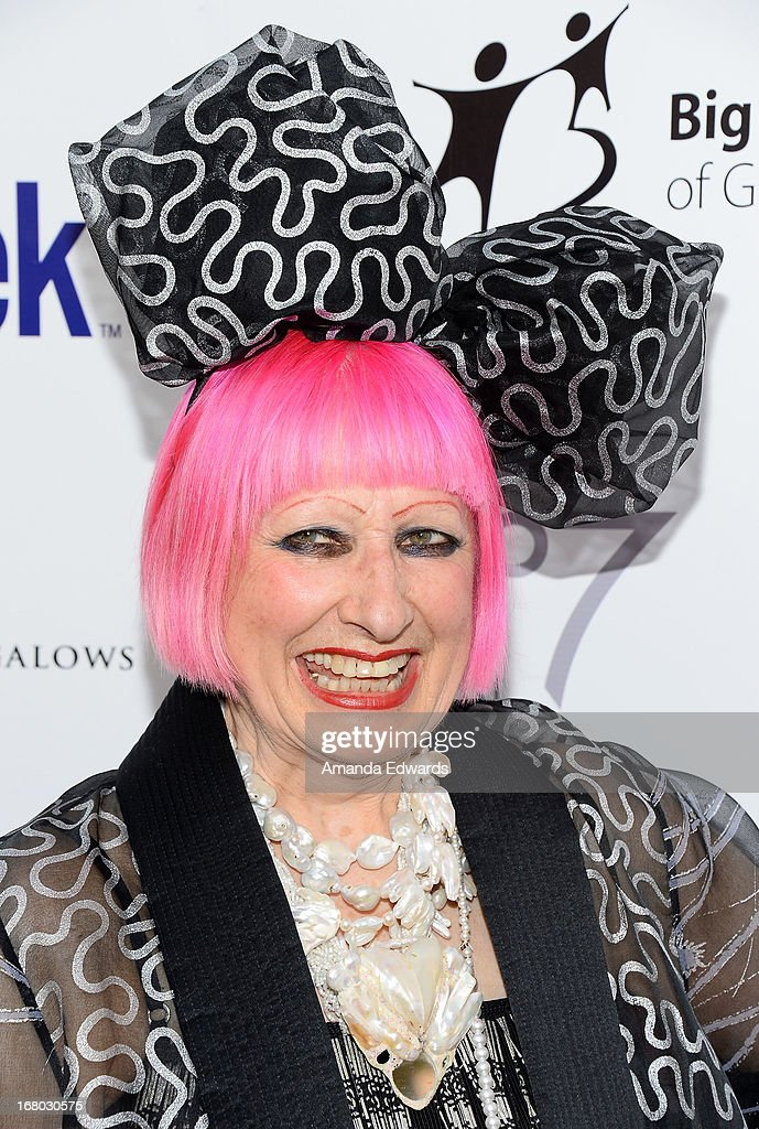 Fashion designer Zandra Rhodes arrives at the 'Downton Abbey' Britweek celebration at the Fairmont Miramar Hotel on May 3, 2013 in Santa Monica, California.