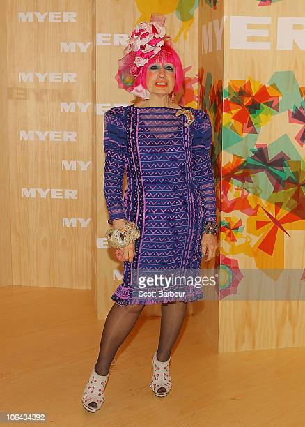 Fashion designer Zandra Rhodes attends the Myer marquee during Emirates Melbourne Cup Day at Flemington Racecourse on November 2 2010 in Melbourne...