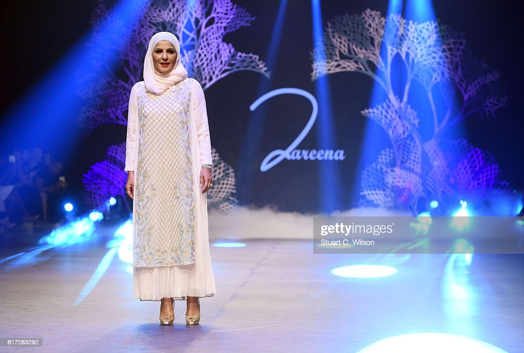Fashion designer Zareena on the runway after her show at Fashion Forward Spring/Summer 2017 held at the Dubai Design District on October 22, 2016 in Dubai, United Arab Emirates.