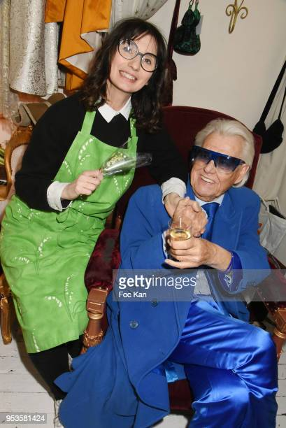 Fashion designer Zelia Van den Bulke and Michou from Cabaret Chez Michou attend Zelia Van Den Bulke Show At Zelia Abbesses Shop on May 1, 2018 in...