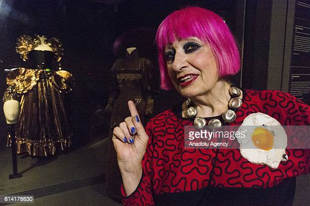 Fashion designer Zhandra Rhodes attends The Vulgar exhibition charting the vulgarity and taste in the history of fashion on October 12 2016 in London...
