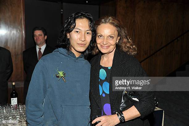 Fashion designers Alexander Wang and Diane von Furstenberg attend the new member induction to the Council Of Fashion Designers of America at the Four...