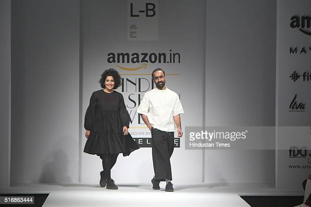 Fashion Designers Amrita Khanna and Gursi Singh during their show Label Love on the Day4 of Amazon India Fashion Week Autumn/Winter 2016 at...