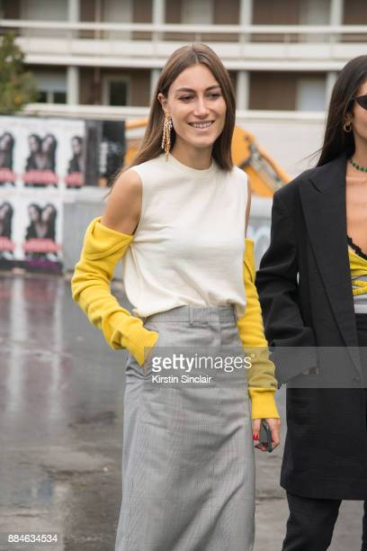 Fashion designers and Co Founder of fashion label Attico Giorgia Tordini wears a Calvin Klein top and skirt and Loewe earrings day 5 of Paris Womens...
