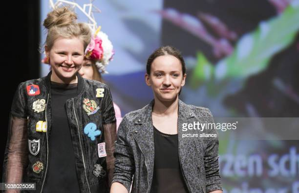 Fashion designers Anet Schmieder and Magdalena Stark are pictured after the presentation of their collection 'Zwei Herzen schlagen ach In meiner...
