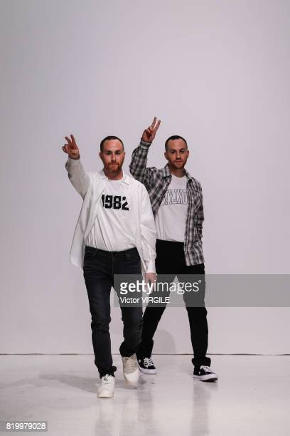 Fashion designers Ariel Ovadia and Shimon Ovadia walk the runway at the Ovadia & Sons during the NYFW: Men's July 2017 Spring Summer 2018 Collection...