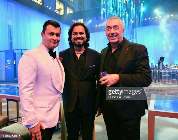 Fashion designers Ashish N Soni and Rahul Mishra and Guillaume GirardRedyet attend the third edition of Chivas 18 Alchemy 2019 on March 16 2019 in...