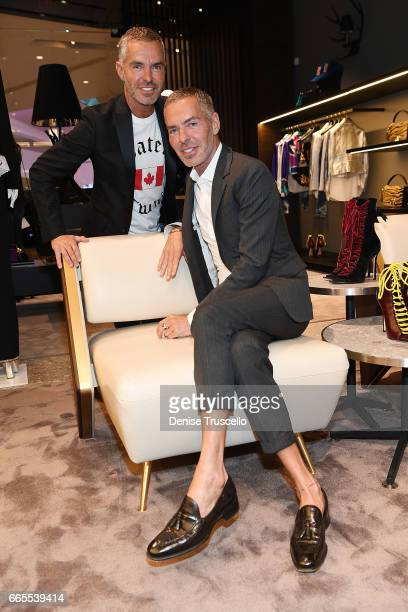 Fashion designers Dan Caten Dean Caten attend the grand opening party for Dsquared2 at The Shops at Crystals on April 6 2017 in Las Vegas Nevada