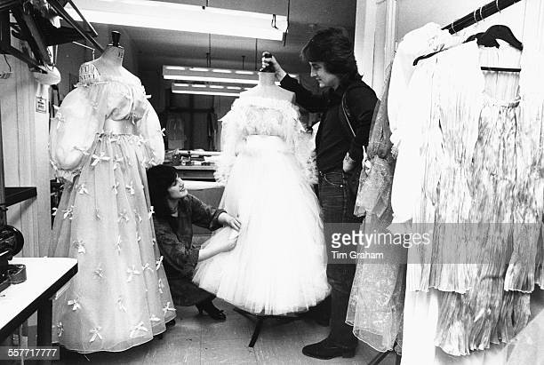 Fashion designers David And Elizabeth Emanuel at work in their studio designing the dress of Lady Diana Spencer for her wedding to Prince Charles...