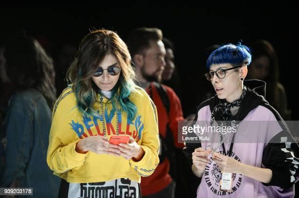 Fashion designers Deniz Berdan and Begum Berdan ahead of their DB Berdan show during Mercedes Benz Fashion Week Istanbul at Zorlu Center on March 28...