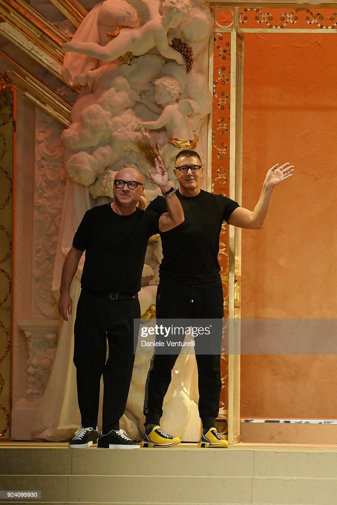 Fashion designers Domenico Dolce and Stefano Gabbana walk the runway after the Dolce & Gabbana show during Milan Fashion Week Fall/Winter 2018/19 on February 25, 2018 in Milan, Italy.