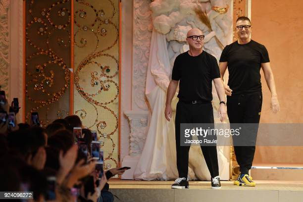 Fashion designers Domenico Dolce and Stefano Gabbana walk the runway after the Dolce Gabbana show during Milan Fashion Week Fall/Winter 2018/19 on...