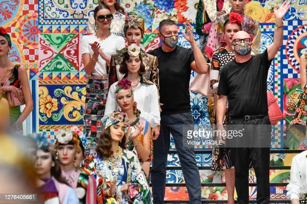 Fashion designers Domenico Dolce and Stefano Gabbana walks the runway at the Dolce Gabbana Ready to Wear Spring/Summer 2021 fashion show during the...