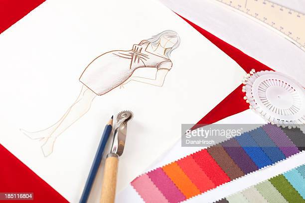 fashion designers drawing - pencil drawing stock pictures, royalty-free photos & images