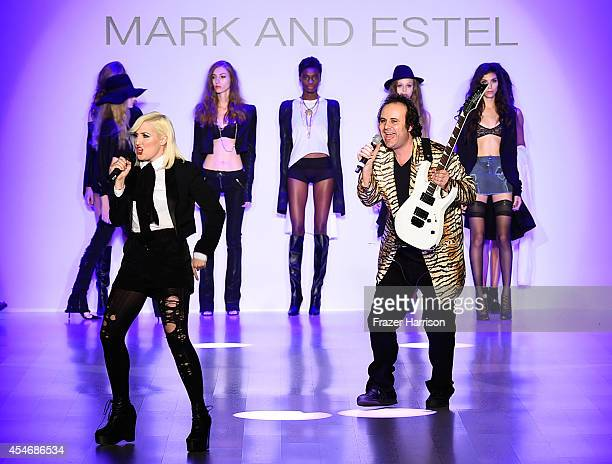 Fashion designers Estel Day and Mark Tango perform on the runway at the Mark And Estel fashion show during Mercedes-Benz Fashion Week Spring 2015 at...