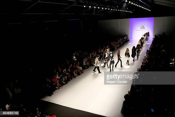 Fashion designers Estel Day and Mark Tango perform on the runway with models at the Mark And Estel fashion show during Mercedes-Benz Fashion Week...