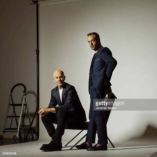 Fashion designers for Calvin Klein, Francisco Costa and Italo Zucchelli are photographed for Vanity Fair - Spain on July 11, 2013 in New York City....