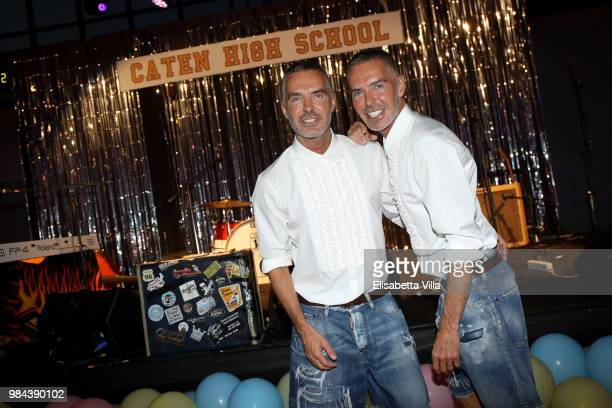 Fashion designers founders and owners of Dsquared2 Dan Caten and Dean Caten pose fot a photo at the Caten Hight School Prom DSquared2 as a part of...