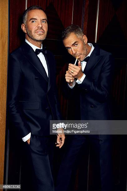 Fashion designers, founders and owners of DSquared2, Dean Caten and Dan Caten are photographed for Madame Figaro on May 23, 2015 in Cannes, France....