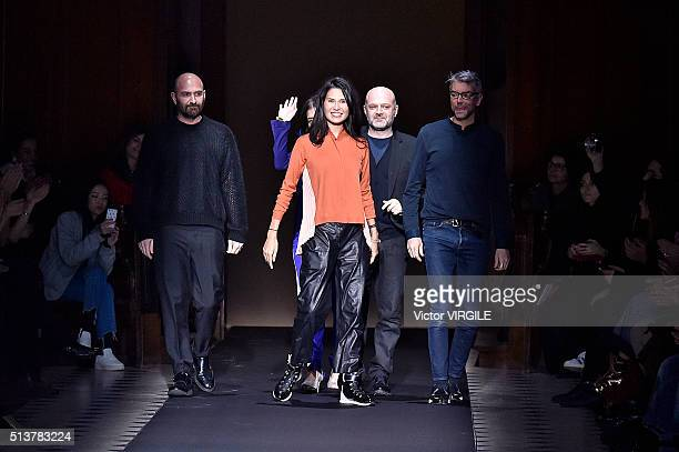 Fashion designers Hussein Chalayan and Goga Ashkenazi walk the runway during the Vionnet fashion show as part of the Paris Fashion Week Womenswear...