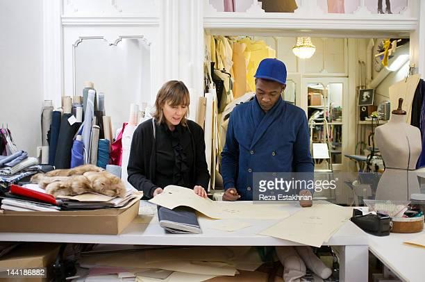 Fashion designers in discussion