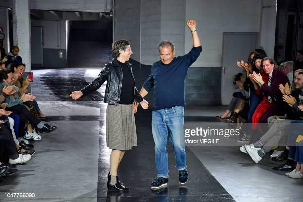 Fashion designers Jean Touitou and Judith Touitou walk the runway during the APC Ready to Wear fashion show as part of the Paris Fashion Week...