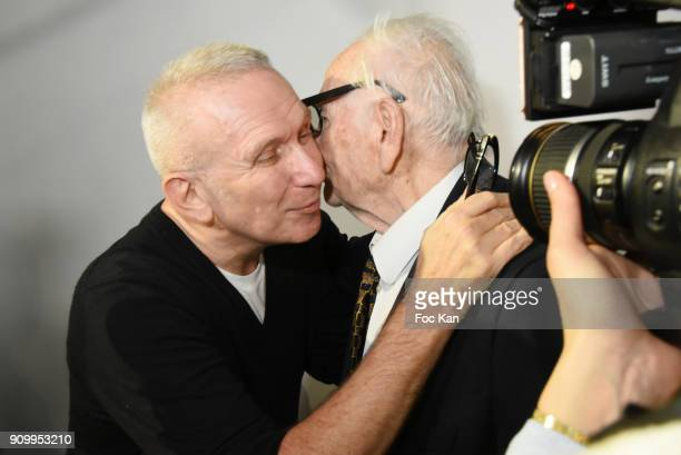Fashion designers JeanPaul Gaultier and Pierre Cardin attend the JeanPaul Gaultier Haute Couture Spring Summer 2018 show as part of Paris Fashion...