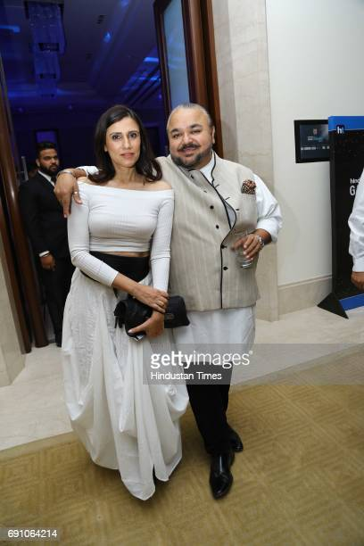 Fashion Designers JJ Valaya and Rina Dhaka during the Hindustan Times Game Changer Awards 2017 at Hotel Oberoi on May 24 2017 in Gurgaon India