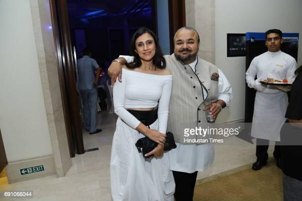 Fashion Designers JJ Valaya and Rina Dhaka during the Hindustan Times Game Changer Awards 2017 at Hotel Oberoi on May 24 2017 in Gurgaon India
