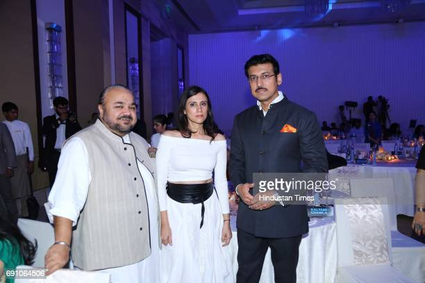 Fashion Designers JJ Valaya Rina Dhaka and Minister of State for Information Broadcasting Rajyavardhan Singh Rathore during the Hindustan Times Game...