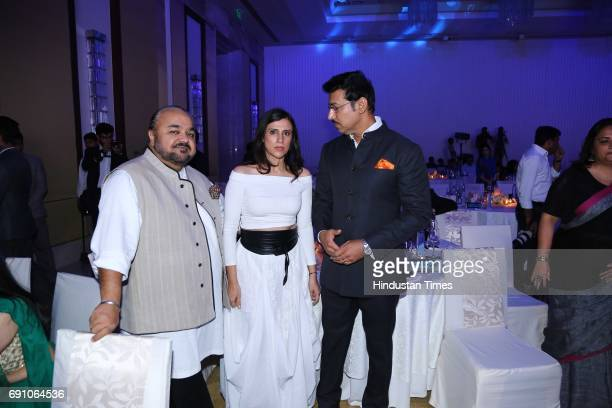Fashion Designers JJ Valaya Rina Dhaka and Minister of State for Information Broadcasting Rajyawardhan Singh Rathore during the Hindustan Times Game...