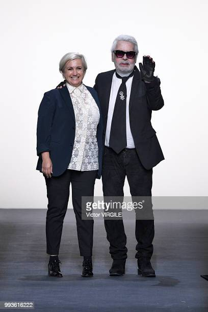 Fashion designers Karl Lagerfeld and Silvia Venturini Fendi walk the runway during the Fendi Couture Haute Couture Fall Winter 2018/2019 fashion show...