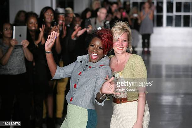 Fashion designers Kera Anderson and Nicole Styer walk the runway at the K Nicole fashion show during MercedesBenz Fashion Week Spring 2014 at The...