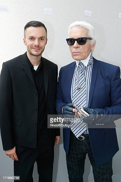 Fashion designers Kris Van Assche and Karl Lagerfeld backstage after Dior Homme Menswear Spring/Summer 2014 Show as part of the Paris Fashion Week on...