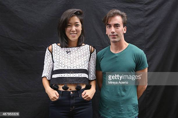 Fashion designers Laura Kim and Fernando Garcia pose backstage at the Monse fashion show during Spring 2016 MADE Fashion Week at Norwood Club on...