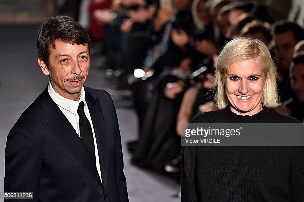 Fashion designers Maria Grazia Chiuri and Pier Paolo Piccioli walk the runway during the Valentino Menswear Fall/Winter 20162017 show as part of...