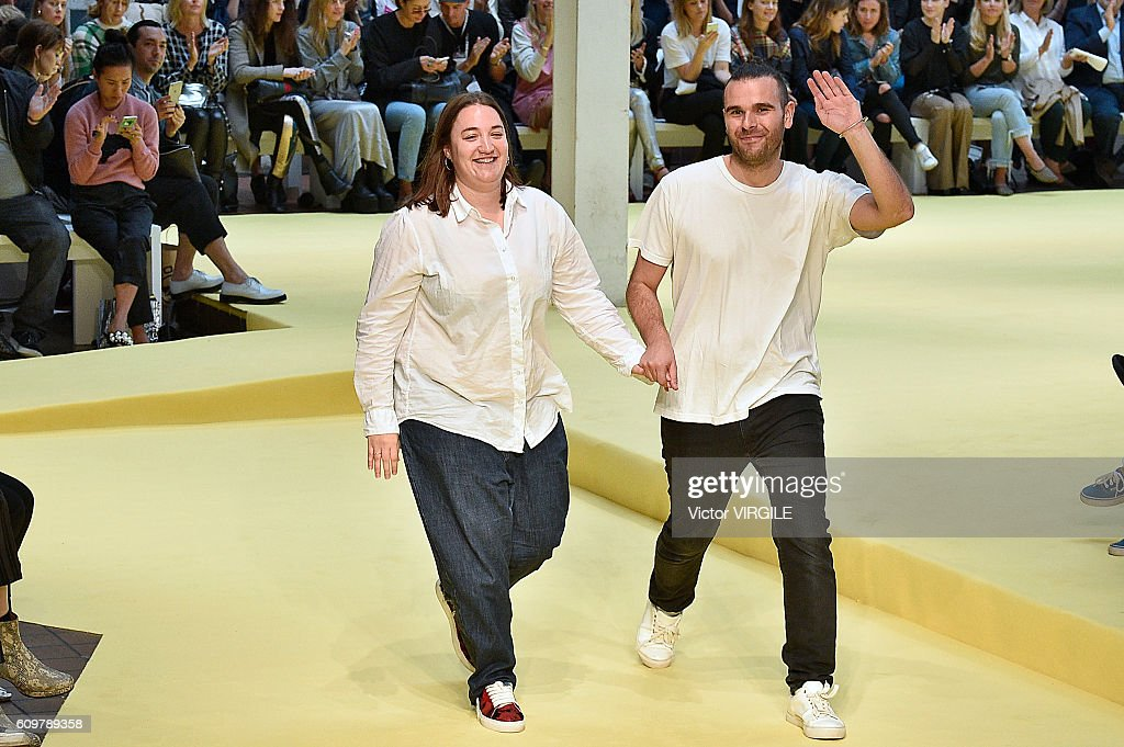 Fashion designers Marta Marques and Paulo Almeida walk the runway at the Marques Almeida show during London Fashion Week Spring/Summer collections 2017 on September 20, 2016 in London, United Kingdom.