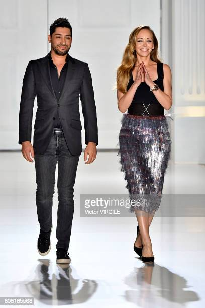 Fashion designers Michael Russo and Tamara Ralph walk the runway during the Ralph Russo Haute Couture Fall/Winter 20172018 show as part of Haute...