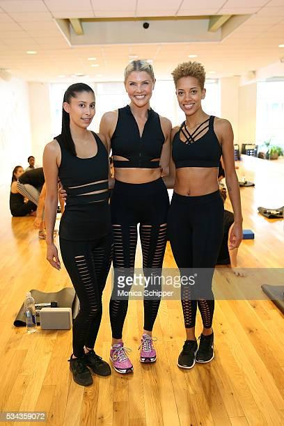 Fashion designers Michelle Ochs and Carly Cushnie of Cushnie et Ochs and fitness instructor Amanda Kloots attend the Cushnie et Ochs x Bandier...
