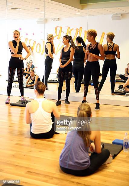 Fashion designers Michelle Ochs and Carly Cushnie of Cushnie et Ochs and fitness instructor Amanda Kloots speak at the Cushnie et Ochs x Bandier...