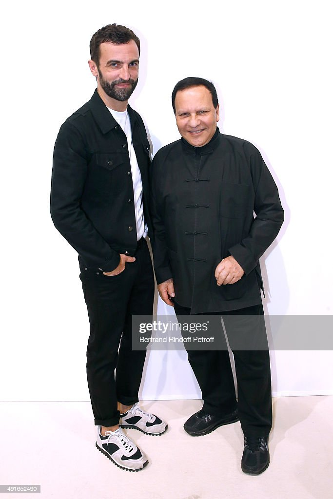 Fashion Designers Nicolas Ghesquiere and Azzedine Alaia pose Backstage after the Louis Vuitton show as part of the Paris Fashion Week Womenswear Spring/Summer2016. Held at Louis Vuitton Foundation on October 7, 2015 in Paris, France.