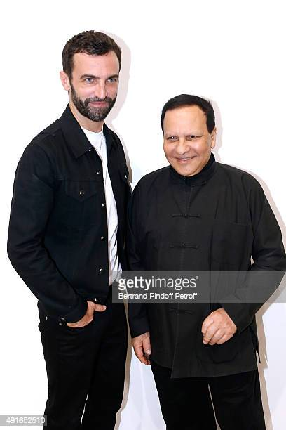 Fashion Designers Nicolas Ghesquiere and Azzedine Alaia pose Backstage after the Louis Vuitton show as part of the Paris Fashion Week Womenswear...
